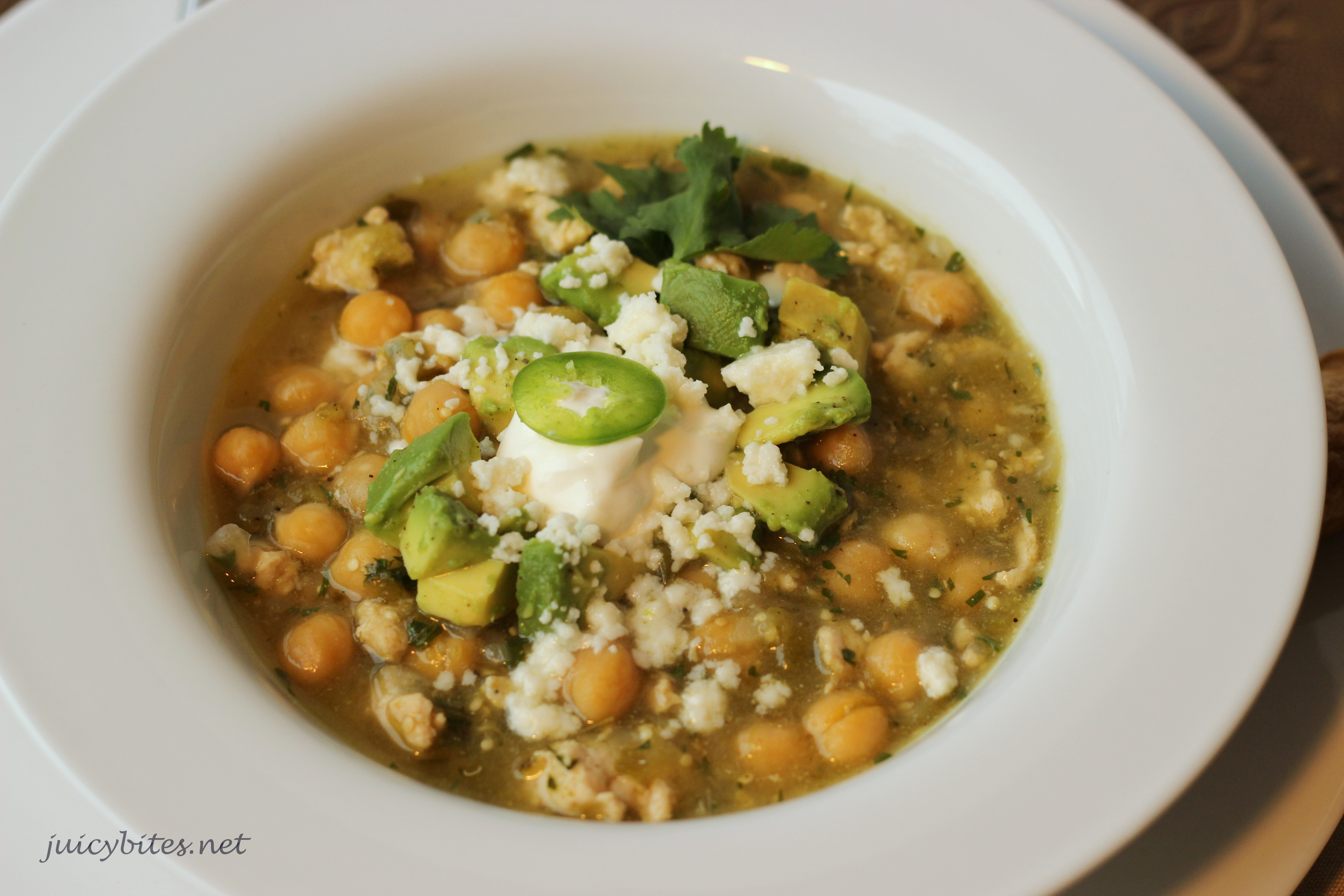 Green Chili with Chicken and Garbanzo Beans